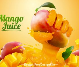 Creative Mango juice banner ads vector   illustration