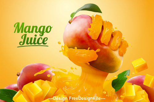 Creative Mango juice banner ads vector   illustration