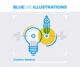 Creative solution blue line vector