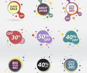 Creative variety of color sale labels vector