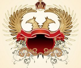 Crown heraldic and double-headed eagle sign vector