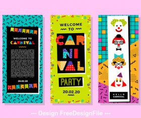 Cute Banner Carnival Templates in Memphis Style vector