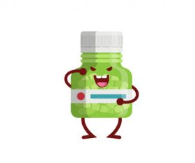Cute Medicine Bottle Vector Illustration 01