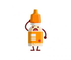 Cute Medicine Bottle Vector Illustration 03