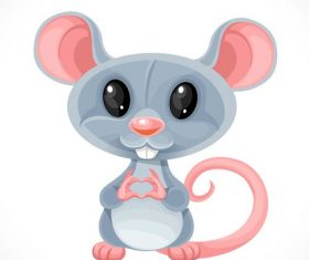 Cute cartoon toy gray rat fold a heart out of her fingers isolated on white background vector
