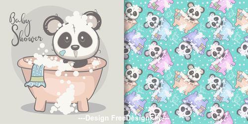 Cute panda greeting card seamless pattern cartoon vector