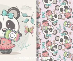 Cute panda seamless pattern cartoon vector