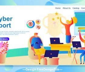 Cyber sport flat banner vector