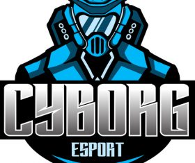 Cyborg blue mascot esports logo vector