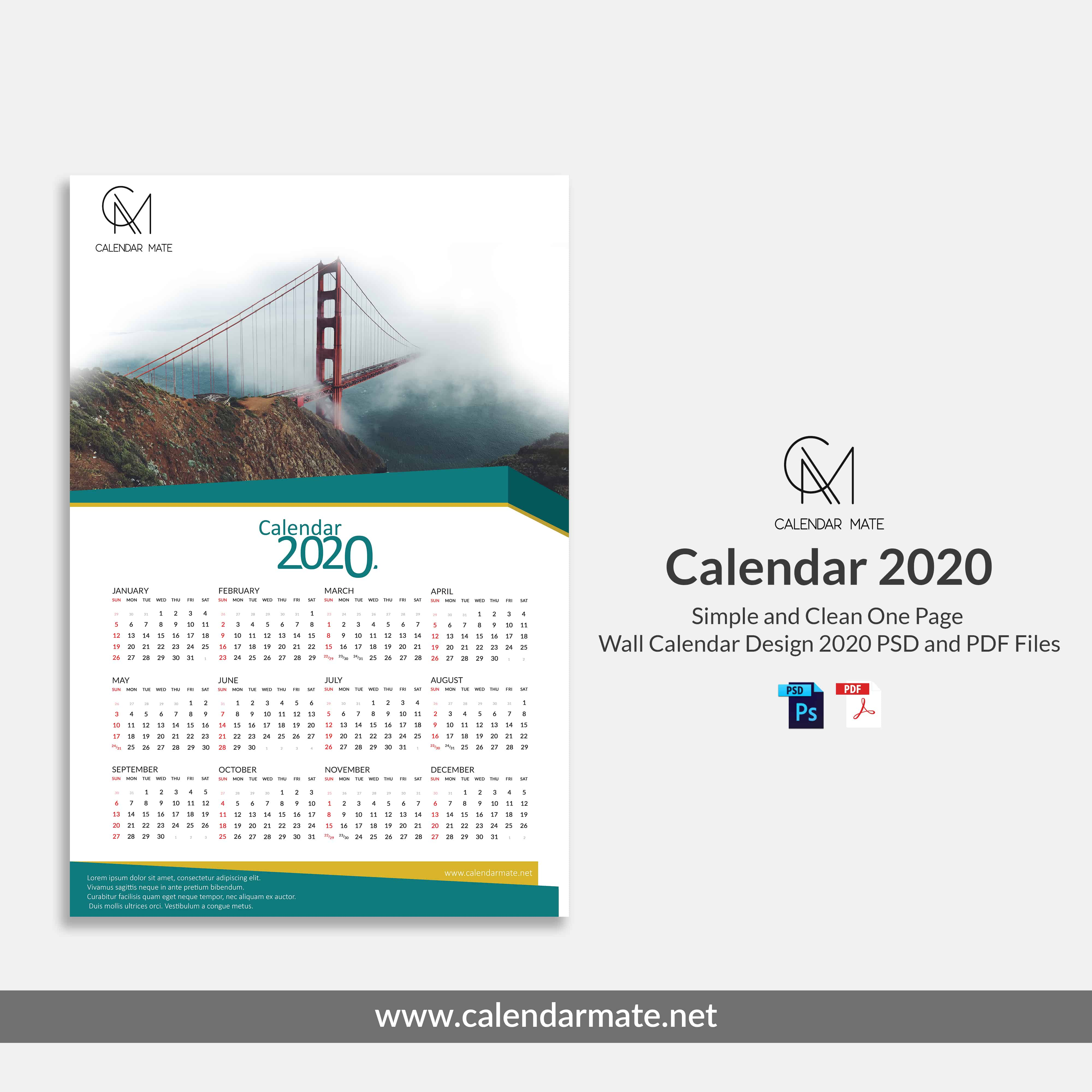 Damas: Simple and Clean One Page Free Wall Calendar Design Template 2020