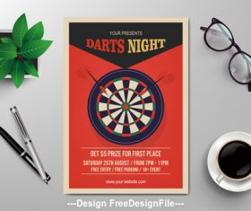Darts competition flyers vector