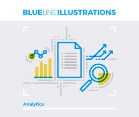 Data analytics blue line vector illustration concept