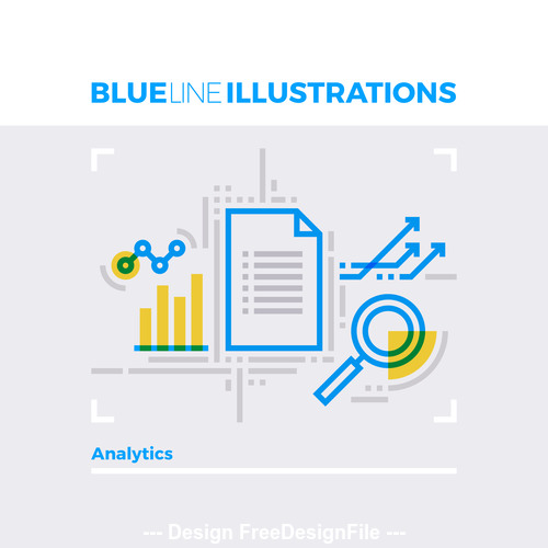 Data analytics blue line vector illustration concept