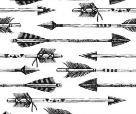 Decorative arrows Indians and feather tip vector