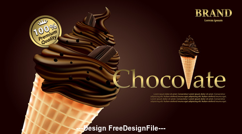 Delicious chocolate ice cream vector illustration