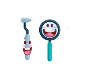 Dental tools cartoon vector