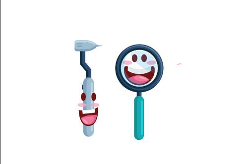 Dental tools cartoon vector