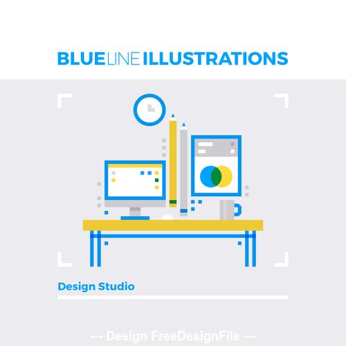 Design studio blue line vector