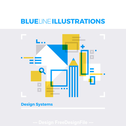 Design systems blue line vector illustration concept