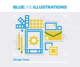 Design tools blue line vector
