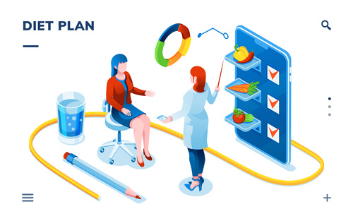 Diet plan cartoon illustration vector