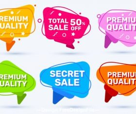 Different color sales labels vector