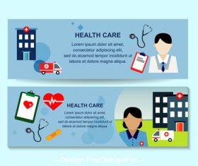 Doctor and nurse banner design vector