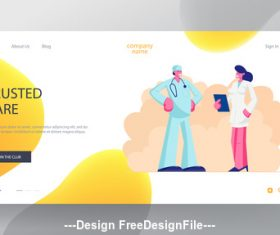 Doctor and nurse flat banner vector