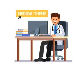 Doctor sitting in front of computer vector