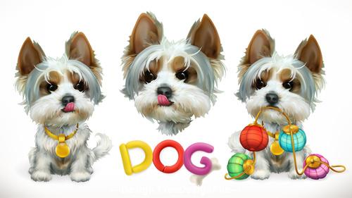 Dog 3d vector icon vector