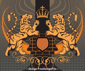 Double tiger heraldic vector