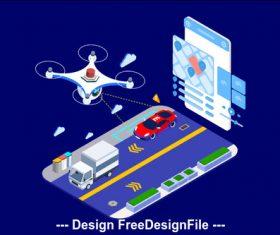 Drone road monitoring vector