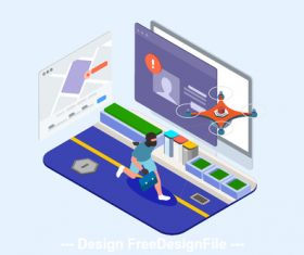 Drones Police Isometric Illustration vector