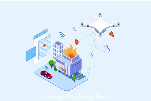 Drones Search And Rescue Isometric vector