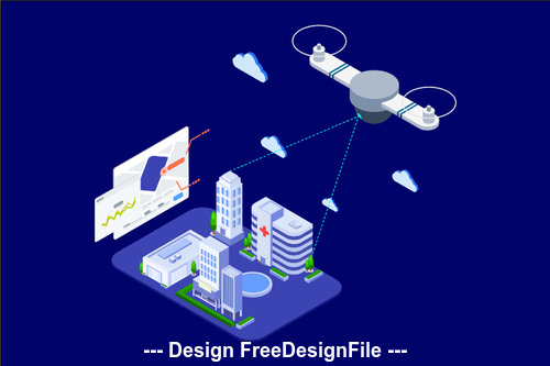 Drones survey and mapping isometric Illustration vector