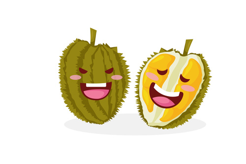 Durian funny cartoon face vector