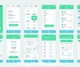 Ecology Mobile App UI Kit vector