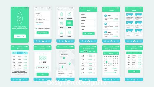 Ecology Mobile App UI Kit vector