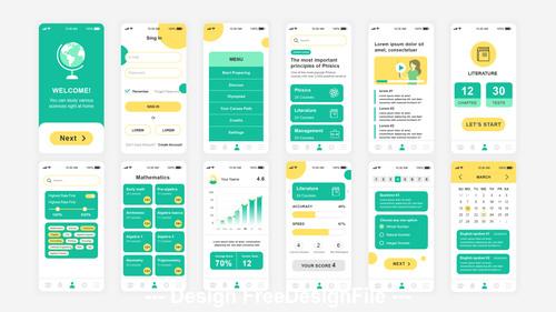 Education Mobile App UI Kit vector