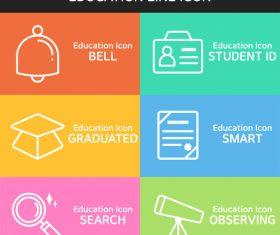 Education different line icon vector