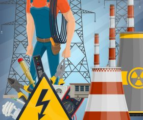 Electrician and transmission tower cartoon background vector