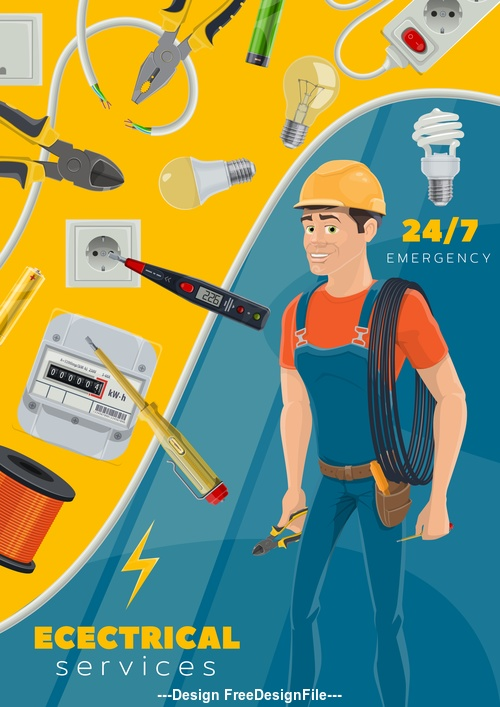 Electrician professional and tool kit vector