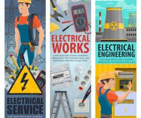 Electrician professional service cartoon vector