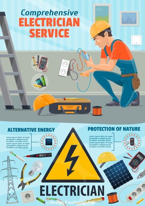 Electrician repair cartoon banner background vector