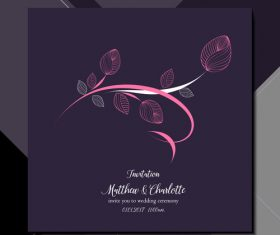Elegant flower background wedding invitation card vector