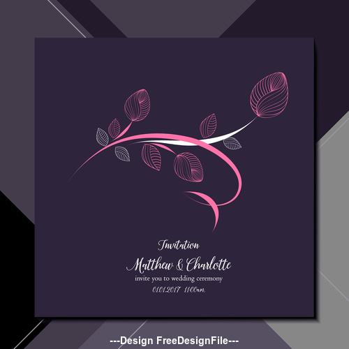 Elegant Flower Background Wedding Invitation Card Vector