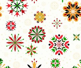 Elements floral snowflake seamless pattern vector