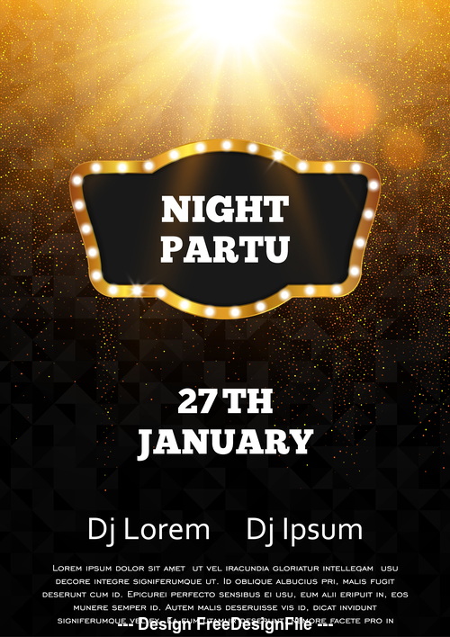 Elements night party flyer template vector