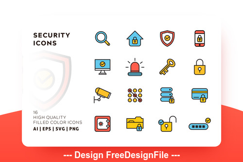 Elements security filled color vector