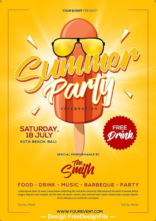 Elements summer party flyer psd template